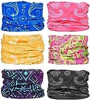 6 Stück Nahtlose Bandanas Multifunktionstuch Schal - Elastiche Multifunktion Stirnband Gaiter Balaclava Gesichtsmaske...