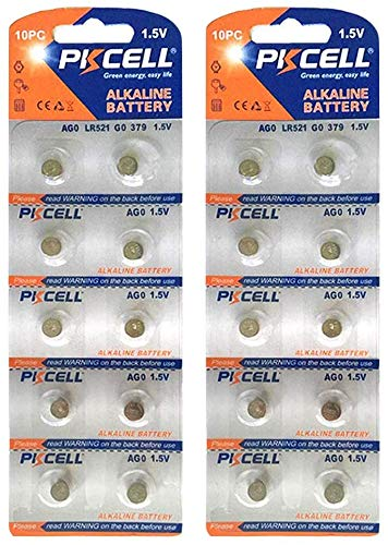 PKCELL Lot de 20 Piles Bouton alcalines 1,5 V AG0 LR521 LR63 SR63 379 pour Montre