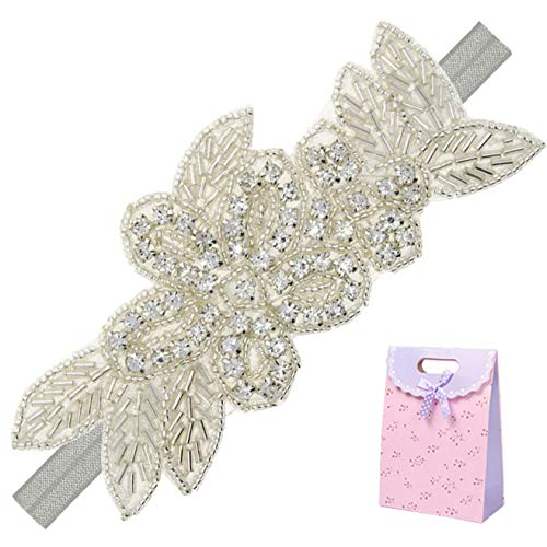 Elesa Miracle Little Baby Girl Rhinestone Flower Headband, Baby Hair Accessories in Gift Bag (1pc- Gray Headband)