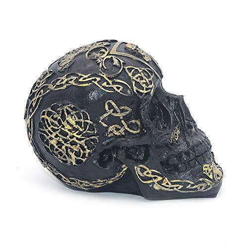 VOANZO Estatua de cabeza humana de calavera con patrón dorado negro para decoración de mesa de Halloween Bar