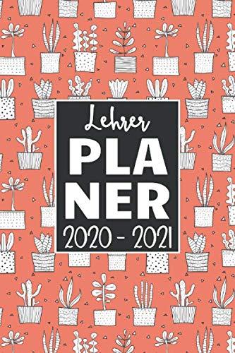Lehrerplaner 2020/2021: Kalender für Lehrerinnen und Lehrer zur Planung und Unterrichtsvorbereitung / Lehrerkalender, A5, 170 Seiten, Kakteen rot / schwarz / weiß