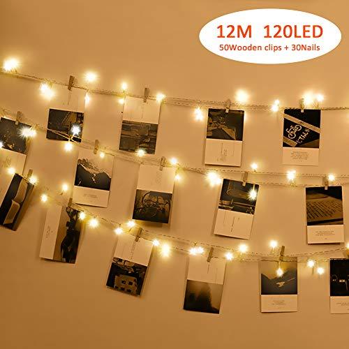 Foto Clip Cadena de Luces LED,Tomshine 12m 120 LEDs Guirnalda Luces Pilas 50 Pinzas Para Fotos,2 Iluminación Modos,Guirnalda de Luces para Decoración de Fotos