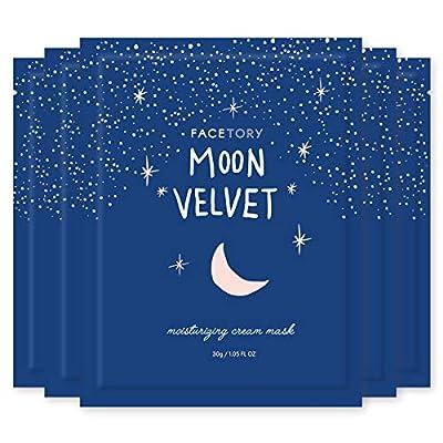 FaceTory Moon Velvet Moisturizing Cream with Jojoba Oil Sheet Mask - Anti-Aging, Brightening, and Moisturizing (Pack of 5)