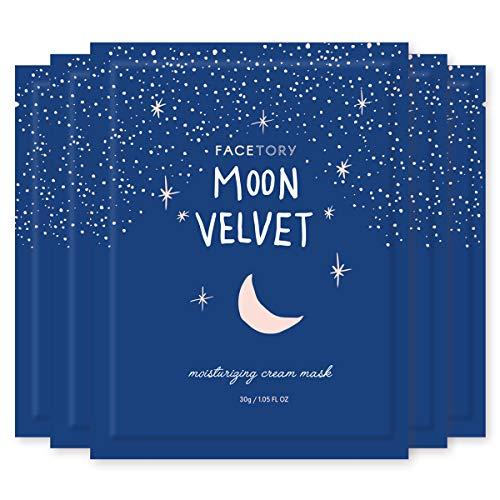 FaceTory Moon Velvet Moisturizing Cream with Jojoba Oil Sheet Mask - Moisturizing, Brightening, and Anti-Aging (Pack of 5)