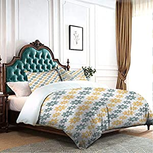 DRAGON VINES Four-Piece Bedding Satin Sheets Duvet Cover Lively Cute Wildflowers Daisies Retro Fashion Spring Nature Print Breathable Fabric Almond Green Apricot Mustard