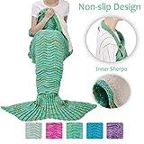 Tirrinia Adult Sherpa Mermaid Tail Blanket, Super Soft Warm Crochet Mermaid Blanket for Adult Teens Women, Anti-Slip Neck Strap Design | Perfect for Women Girls Green