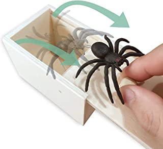 AHCAI Rubber Spider Prank Box,Handcrafted Wooden Prank Box, Spider in Box Prank Hilarious Halloween Money Gift Box Surprise Toy and Gag Gift Practical Joke-Single