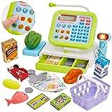 HERSITY Spielkasse Kinder mit Scanner Mikrofon Kasse Kaufladen Elektronische Supermarktkasse Spielzeug Rollenspiel Geschenk Jungen Mädchen 3 4 5 Jahren, 33 Stück Kinderkasse Grün