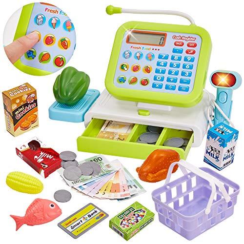 HERSITY Spielkasse Kinder mit Scanner Mikrofon Kasse Spielzeug Elektronische Supermarktkasse Rollenspiel Geschenk Jungen Mädchen 3 4 5 Jahren (33 Stück, Grün)