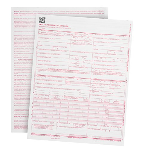 """500 CMS-1500 Claim Forms - Current HCFA 02/2012 Version""""New Version""""- Forms Will line up with Billing Software and Laser Compatible- 500 Sheets - 8.5"""
