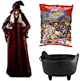 "71"" Life Size Talking Animated Halloween Hanging Witch With Calderon and Candy, Prop Decor for your Haunted House Party"
