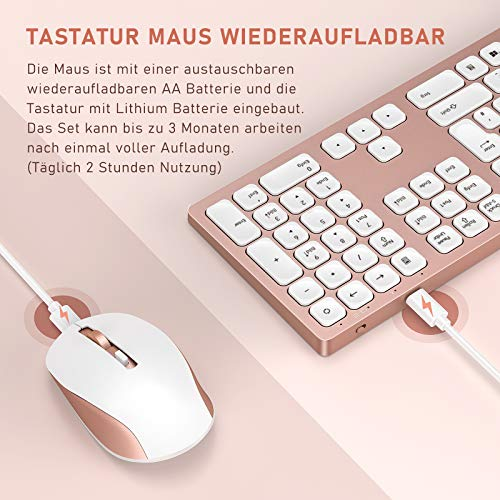 Jelly Comb 2.4G Funktastatur mit Maus Set, Kabellose Ultraslim Fullsize USB Tastatur Maus Kombi Wiederaufladbar für Windows PC, Laptop, QWERTZ Deutsches Layout, Rosa Gold