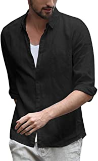 Holzkary Men's Comfort Long Sleeve Button Front Shirt Slim Fit Cotton Linen Turn-Down Collar Button Down Shirts