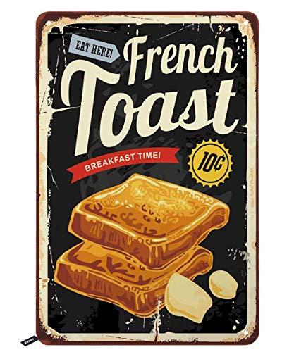 BIT TSHOME Blechschild mit französischem Toast-Restaurant, Frühstück, Grafik auf altem Hintergrund,...