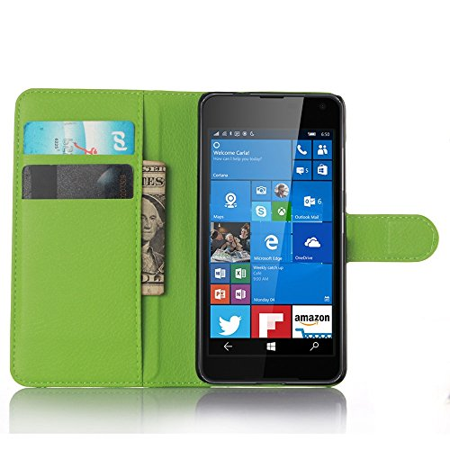 Ycloud Tasche für Nokia Microsoft Lumia 650 Hülle, PU Ledertasche Flip Cover Wallet Case Handyhülle mit Stand Function Credit Card Slots Bookstyle Purse Design grün