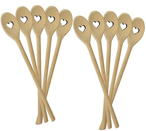 10er SET METALTEX 570300010 Kochlöffel HEART aus Buchenholz mit Herz-Ausschnitt/Backzubehör/Kochzubehör