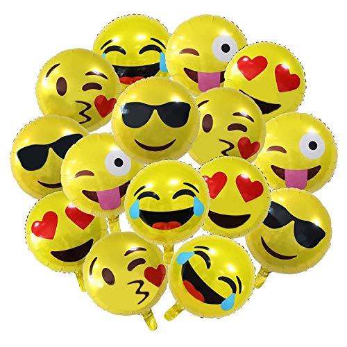 Meowoo 18 inch Palloncini Emoji 26 PCS per Birthday Party Grandi Oro Balloons for Bambini Partito Decorazioni Decorazione Matrimonio o Compleanno Decorazione,Palloncini Natale (Emoji Balloon 26 PCS)