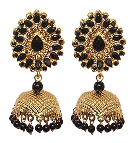 Pahal Jadau - Pendientes de perlas de color negro y oro grande Jhumka, diseño de bollywood indio, joyería nupcial para mujer