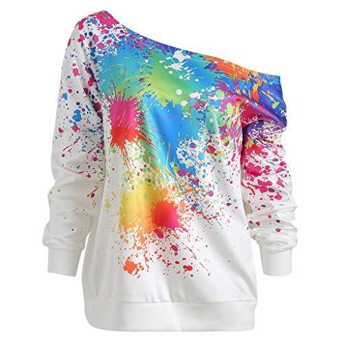 Sudaderas Mujer BaZaHei Camiseta de Manga Larga con Hombro de Sexy Descubiertos con Estampado de Arcoiris Blusa Suelta de Cuello Redondo de Manga Larga Tops Casuales Moda para Mujer Otoño
