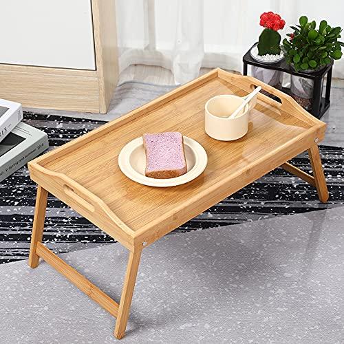 Vassoio da letto in bambù con gambe pieghevoli, vassoio da portata per la colazione come tavolino e tavolo da ginocchio, facile da pulire e lavabile