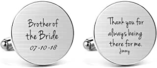MUEEU Brother of The Bride Wedding Cufflinks Name Engraved Thank You for Always Being There for Me Jewelry