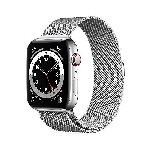 Apple Watch Series 6 (GPS + Cellular) 44mm Edelstahl silber mit Sportarmband weiß (M09D3FD)