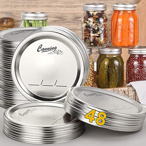 48 Count Regular Mouth Canning Lids for Ball Kerr Jars Split Type Metal Mason Jar Lids for Canning product image