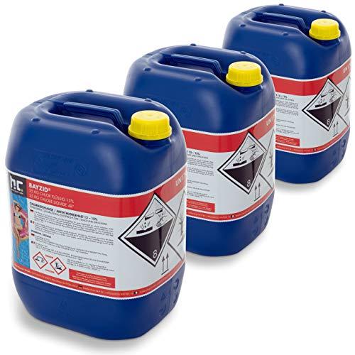 Bayzid 3 x 25 kg Chlor flüssig - mit 13 bis 15% Aktivchlorgehalt - Wasserdesinfektion für Pools