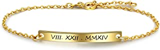 Personalized Name Bar Bracelet for Women Custom Initial Bracelets Engraved Name Bangle Bracelets Jewelry for Bridesmaid Gifts