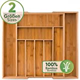 Loco Bird Portaposate da Cassetto in bambù - fino a 9 scomparti - Utile separatore cassetti cucina - Divisori per Cassetti Posate - Porta posate in legno