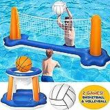 Ensemble de flotteur de piscine gonflable filet de volley-ball avec cerceaux de basket-ball et balles de jeu de natation jouet flottant pour enfants et adultes fête à la piscine
