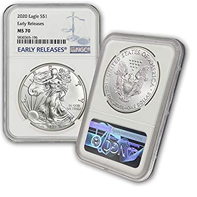 2020 Silver American Eagle MS-70 NGC (Early Releases) by CoinFolio $1 MS70 NGC