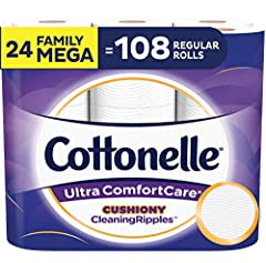 Contains 4 packs of 6 family mega rolls (24 family mega rolls total) = 108 regular rolls, 325 sheets per toilet paper roll (packaging may vary) Premium soft 2-ply toilet paper with a Cushiony CleaningRipples Texture that removes more at once for a su...