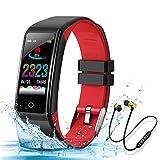 Montre Connectée Intelligente, Bracelet Connecté Cardio fréquencemètre Fitness Tracker d'Activité IP67 et Ecouteur Bluetooth Sport Smartwatch Homme Femme (Rouge)