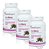 PACK 3 | SanaExpert Acai Berry | PURO ESTRATTO DI BACCHE ACAI | alto dosaggio 4000 mg di frutta Acai (360 compresse) Ingredienti vegani 100% naturali.