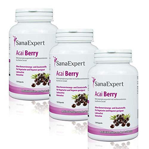 SanaExpert Acai Berry, Nahrungsergänzung mit reinem Açaí-Beeren-Extrakt und Antioxidantien, vegan, ohne Zusätze und made in Germany, 120 Kapseln (3)