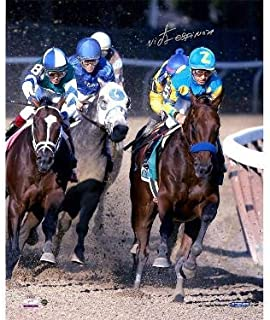 American Pharoah signed 16x20 Photo 2015 Belmont Stakes Ahead of Pack Horse Racing Triple Crown w/Victor Espinoza- Holo - Steiner Sports Certified