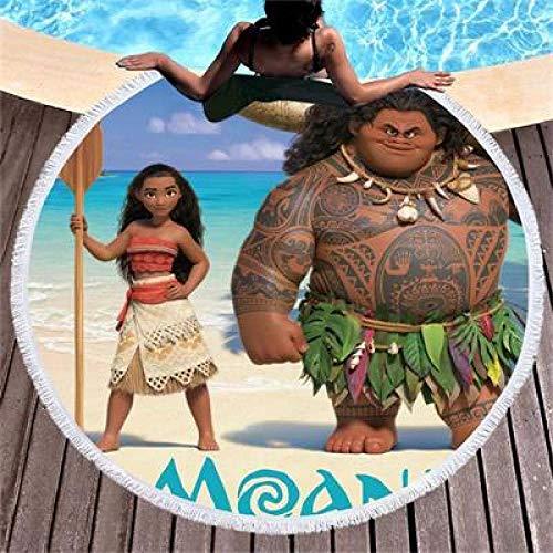 AMZJIEFU Toalla de Playa Redonda de Moana y Tela de Microfibra con borlas para Mujer Toalla Manta Grande Estera de Picnic de Yoga Tapiz de Toalla de baño para Adultos
