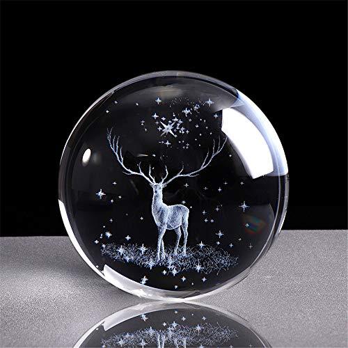 qianyue 3D Crystal Wapiti Ball Figurine Feng shui Office Decorative Storm Glass Ball Balls Ornaments Animal Wapiti Statue Crafts (80mm)