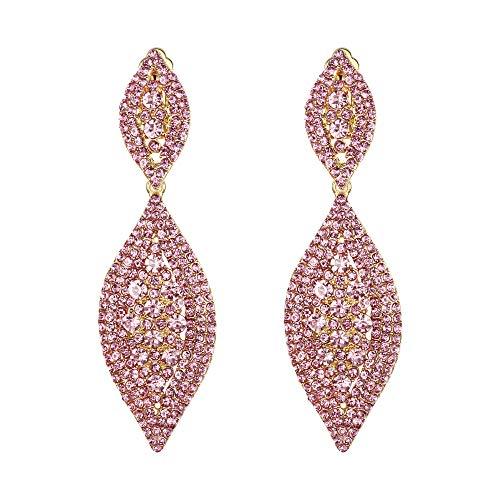 EVER FAITH Orecchini a clip da donna, con cristalli, per matrimonio, festa, vintage, 2 fogli, orecchini a clip, Cristallo,