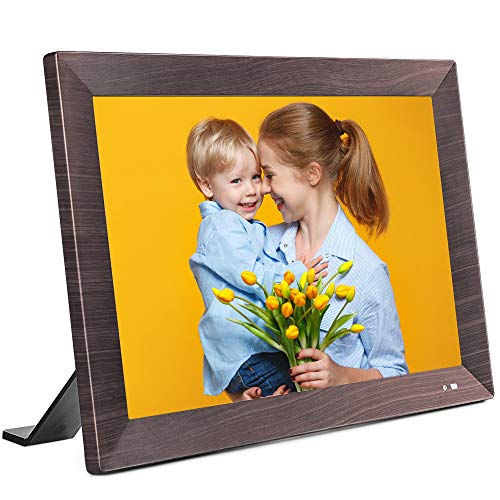 VANKYO WiFi Digital Picture Frame, 10.1 inch HD Touch Screen, Instant Share Photos and Videos via App, Email, Cloud from Anywhere, Motion Sensor, 16GB Storage, Portrait and Landscape, Wood-Effect