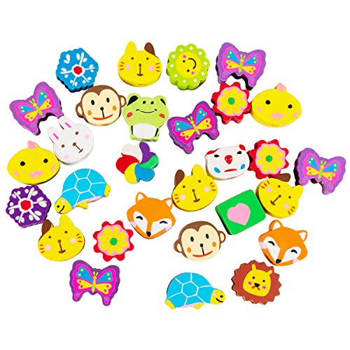 ANPHSIN 30 Pieces Adorable Pencil Top Erasers- Assorted Color Animal Pattern Pencil Eraser Caps for School Classroom and Office