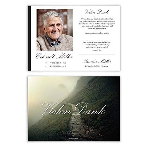 30 x Trauer Dankeskarten Danksagung Danksagungskarten Trauerkarten individuell - Steiniger Weg