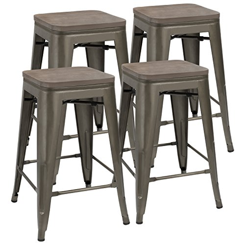 JUMMICO Metal Bar Stools Indoor-Outdoor Stackable Modern Metal Counter Height Industrial Barstools with Wooden Seat Set of 4 (Black)