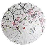 perfeclan Sonnenschirm Stockschirm Tanz Schirm Dekoschirm mit Orientalischen Artkunst, 57 x 83 cm - Pfirsichblüte