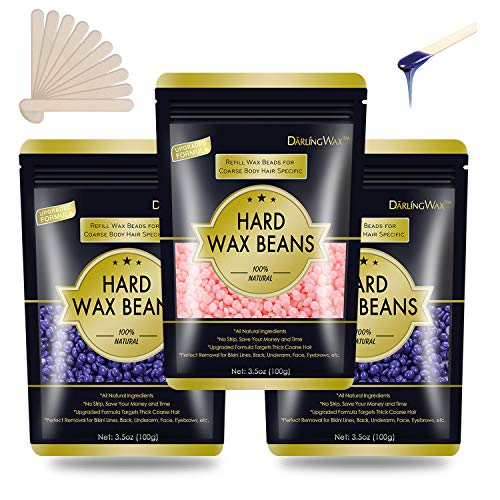 Hard Wax Beans 0.75lb, Wax Beads for Hair Removal, Keethem Body Wax Waxing Beads for Facial, Eyebrow, Bikini Brazilian, Legs, Armpit, Back and Chest, At Home Waxing Beads Refill For Women Men