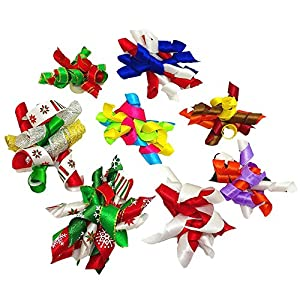 PET SHOW Pet Small Dogs Hair Bows with Rubber Bands Cat Hair Accessories Grooming Supplies Curly Assorted Styles Pack of 20