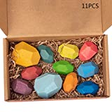 karrychen 11 Pcs Children Wooden Colored Stone Stacking Game Building Block Kid Puzzle Toy