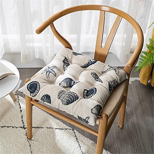 Chickwin Cojines para Silla con Correas de Sujeción, Estampado Pack 2 Cojín Decorativo de Asiento Cojines Acolchados de sillas para Terraza Jardín Sala Balcón (Concha,45x45cm)