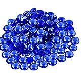 ARSUK Guijarros de Vidrio Piedras Decorativas Cuentas Nuggets Gemas Azulejos de Mosaico para jarrones Artesanía Jardín Cuencos Pecera (100 guijarros Azules)